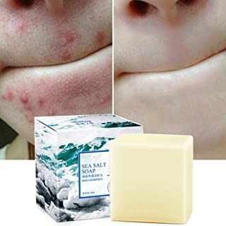 Soap with Sea Salt Natural Goat's Milk for Face Dry and Natural Oily Skin, Remove Acne Anti-cellulite Soap (3.52 Oz)