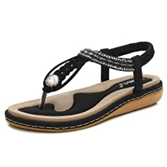 d1470a433a8185 DolphinBanana Women s T-Strap Flat Sandals Glitter Rhinestone .