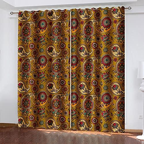 HAOGG Cortina Habitacion Opaca Termica Bohemia Marrón Patrón 150X166Cm 2 Piezas Cortinas...