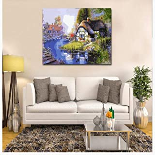 Wonderful town river scenery Diy digital painting living room flower landscape decorative painting pure hand-painted oil painting