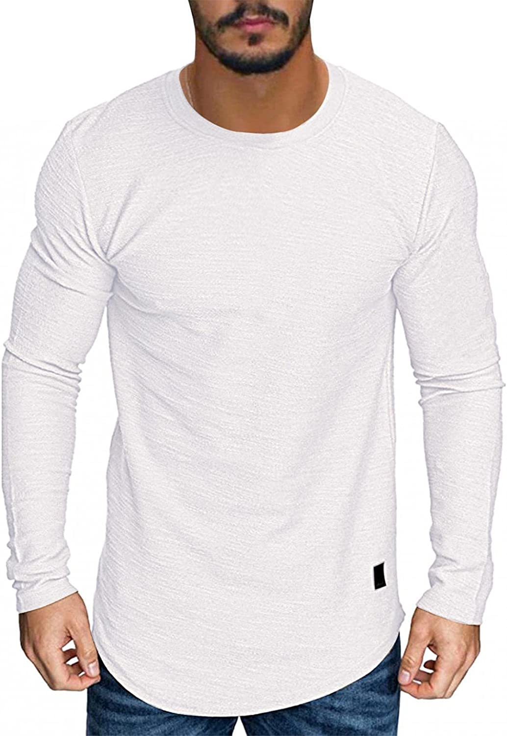 Mens Shirts Men's Casual Basic Solid Color Jacket T-shirt Long Sleeve Tee Shirts for Men Top Blouse Polo Shirts for Men