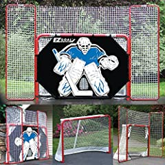 "Curved pro style frame and top shelf 2"" Powder coated 18 gauge steel frame with rigid construction 10' x 6' Backstop rebounds pucks and keeps them from hitting your garage Pro Shooter tutor with 5 targets (Lifetime Warranty On Goal Net) Patent pendin..."