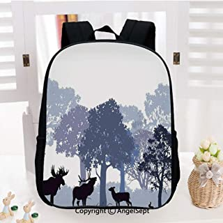 School Backpack,Forest Design Abstract Woods North American Wild Animals Deer Hare Elk Trees School Bags Student Stylish Book Bag Daypack for Little Boys and Girls,Black White Grey