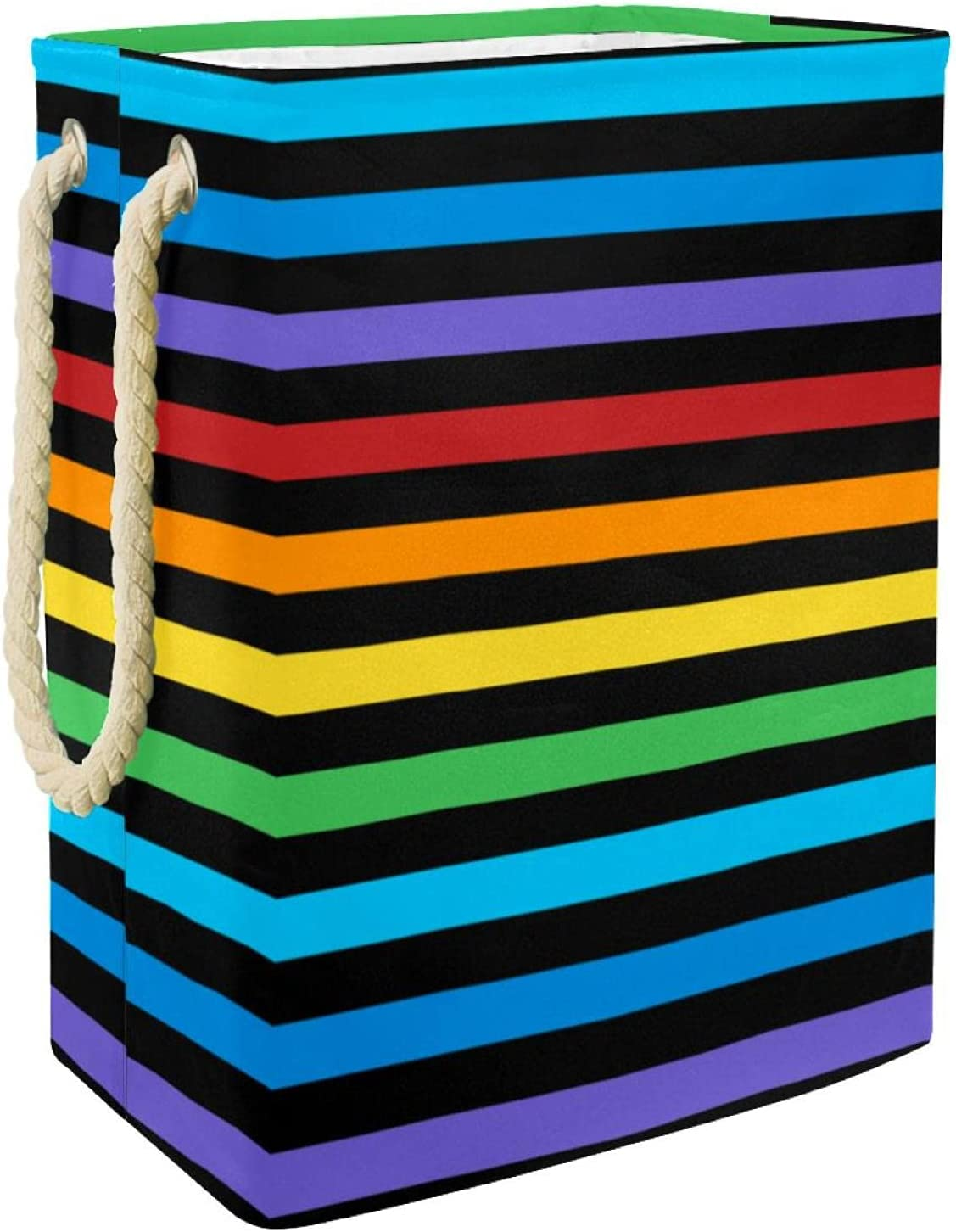 Laundry Basket with Rope Handle Selling and selling Colorful Lines Horizontal Manufacturer regenerated product Stripe
