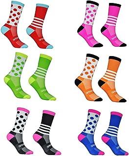 WZDSNDQDY Calcetines de Tubo para Hombre, 6 Pares, Calcetines Deportivos de Lunares a Rayas, Material de algodón, cómodo, Diario, Transpirable, Suave y Duradero.