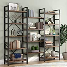 Tribesigns Triple Wide 5-Shelf Bookcase, Etagere Large Open Bookshelf Vintage Industrial Style Shelves Wood and Metal book...