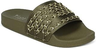 Alrisco Women Satin/Denim Chained Open Toe Footbed Slide IB64