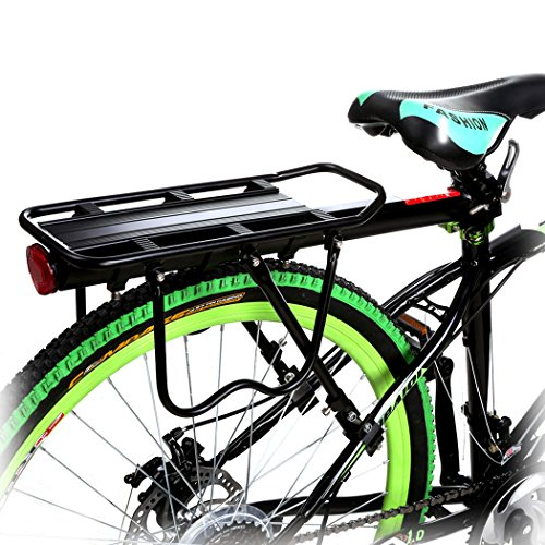 Ancheer自転車荷台最大耐荷50kgリアキャリア後付け軽量伸縮自在取付け簡単ブラック【日本語説明書】
