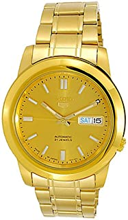 Seiko Men's Gold Dial Stainless Steel Band Watch - SNKK20J1