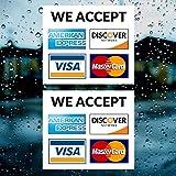 Calcomanía de vinilo con tarjeta de crédito, 2 unidades, aceptamos – Visa, MasterCard, Amex y Discover – 8,9 x 8,9 cm vinilo adhesivo para ventana – tienda, café, oficina, restaurante