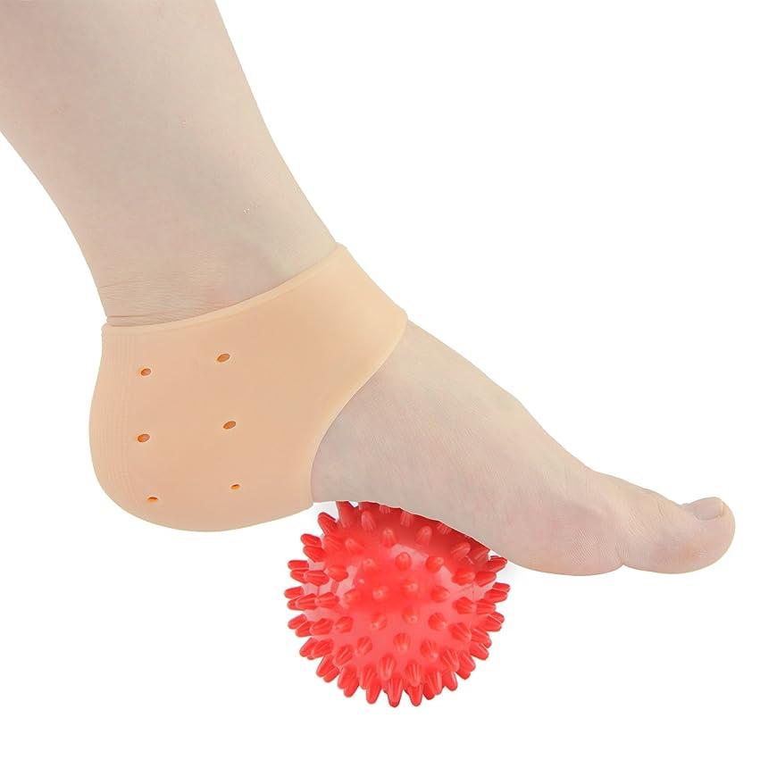 厚いなめらかな余暇Sumifun かかと保護カバー, 足底筋膜炎治療ラップジェルスリーブフットマッサージ足痛み軽減 かかと痛サポーター 衝撃吸収 ジェルサポーター かかとケア 美足 保湿 かかと靴下