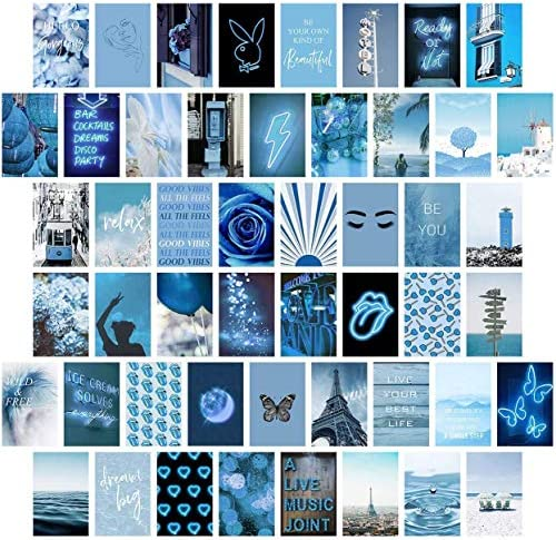Blue Wall Collage Kit Aesthetic Pictures Bedroom Decor for Teen Girls Wall Collage Kit Collage product image