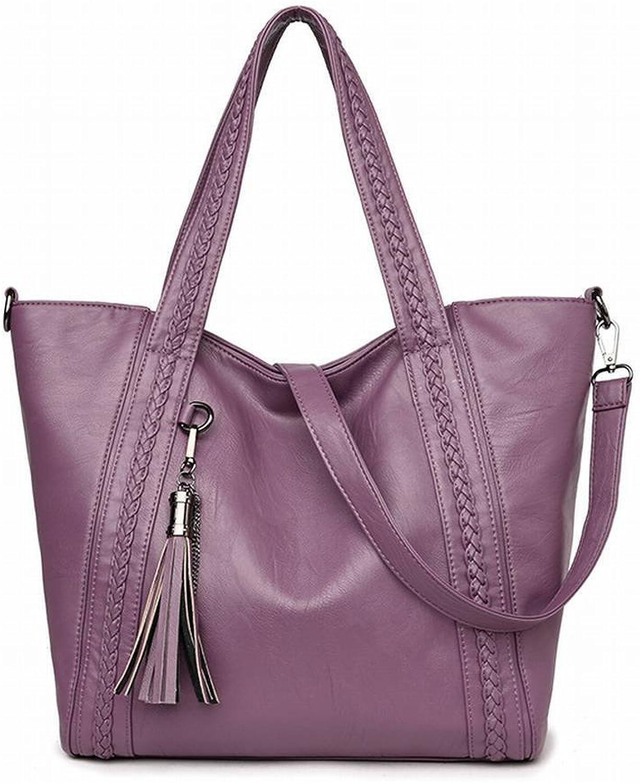Quaste Handtaschen Beilufige Tragbare Schultertasche Schaffell Muster Reine Farbe Gewebt Diagonal Paket , lila
