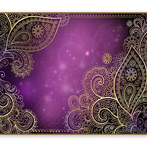 murando Fototapete 250x175 cm Vlies Tapeten Wandtapete XXL Moderne Wanddeko Design Wand Dekoration Wohnzimmer Schlafzimmer Büro Flur Orient Ornament violett gold bokeh f-A-0146-a-c