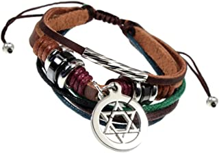 Beautiful Silver Jewelry BSJ Jewish Star of David Multi Strand Adjustable Leather Cuff Bracelet