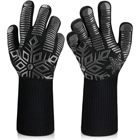 Sungwoo BBQ Gloves, 1472℉/800℃ Extreme Heat Resistant Gloves, Ultra-Long Wrist Guard Silicone Non-Slip Oven Gloves for Barbecue, Baking, Cooking, Cutting, Grilling, Smoker, Welding. 14 Inch (Black)