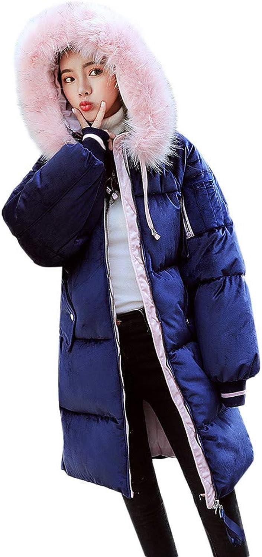 Belloc Women Thick Hoodie Long Coat Warm Plus Cotton Down Plush Coat Jacket