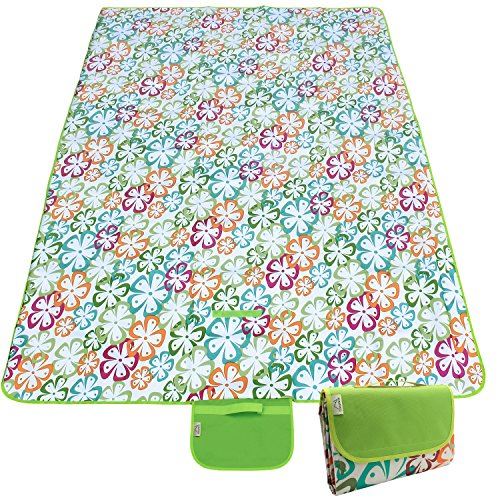 CampTeck Extra Large (200 x 145cm) Folding Picnic Blanket Waterproof Backing Travel Picnic Rug for Outdoors, Beach, Camping with Handle - Floral Green