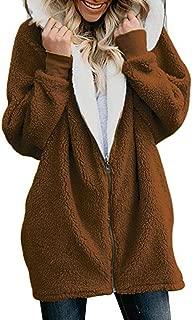 RINZON Women's Faux Fur Shearling Zip Up Teddy Outerwear Coat Fuzzy Hooded Thermal Fleece Winter Jacket