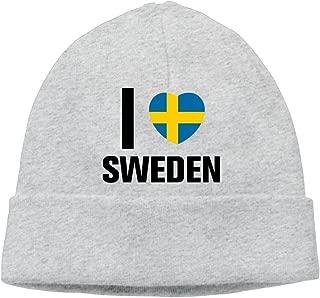 SBPZEB Adult Love Sweden Flag Beanie Skully Cap Hat Watch Hat Ski Cap Hat Black