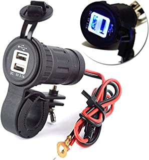 Ugthe 12-24V Motorcycle Waterproof Dual Usb Car Charger Adapter - Black