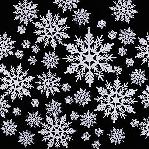 HIQE-FL Schneeflocken Ornamente,Schneeflocken Weihnachten Deko,Weihnachtsbaumschmuck,Weihnachtsdeko Fensterdeko,Schneeflocken Hängend,Schneeflocken Weiß,Schneeflocken zum Aufhängen
