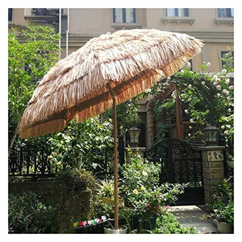 200cm Raffia Bast Sonnenschirm,Hawaii Style Gartenschirm Terrassenschirm Marktschirm Strandschirm strohschirm,wetterfester knickbar Freien Herberge Strandurlaub Höfe