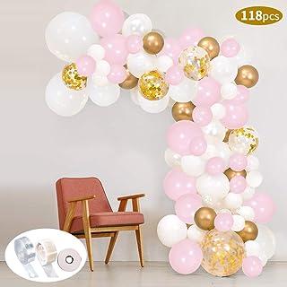 118Pcs Kit de guirnaldas con globos SPECOOL Kit de arcos de globos Rosa blanca y dorada Confeti Lleno de globos de látex Paquete con cinta de globos para cumpleaños Decoración de banquete de boda