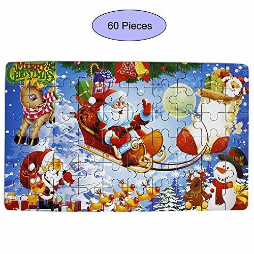Goodplay 60 Piece Wooden Jigsaw Puzzle in an Box Merry Christmas Xmas Santa Claus Early Childhood Education Puzzle Wooden Cartoon Toys