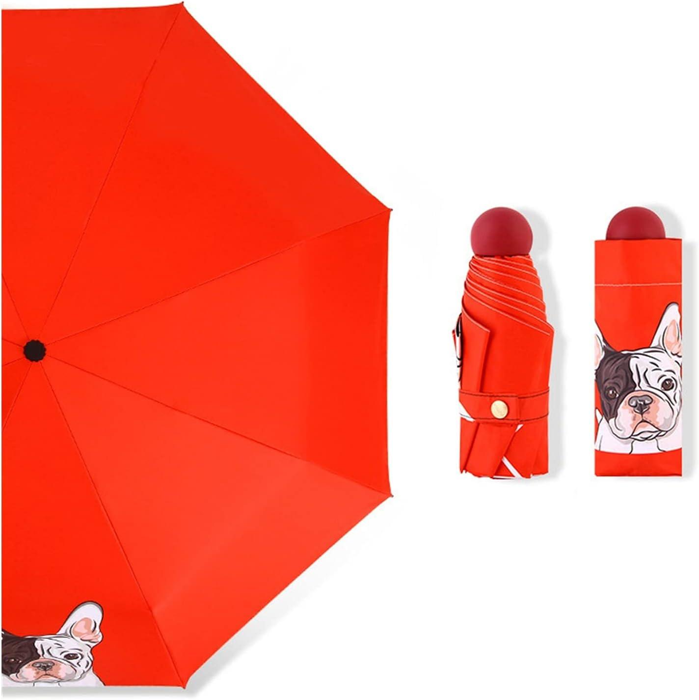 Cartoon Dog 5-Folding Umbrella Max 88% OFF for Product Women Pocket Umbre Rainy Mini
