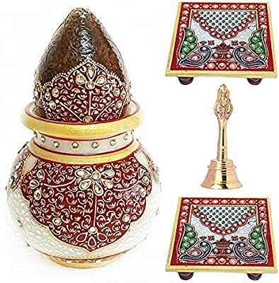 Handicraft Kingdom Pooja Room Decoration Items for Home Idols & Office Murti| Marble Nariyal Lota, Chowki with Brass Bell for Ganesha Statue Mandir| Approx Size (6 Inch) & Wt (870 Gm) Pack of 4