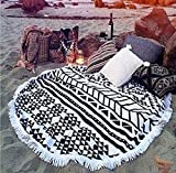 cckiise Round Mandala Tapestry Indian Wall Hanging Beach Throw Towel Yoga Mat Sunscreen Shawl wrap Skirt Tassels Cotton Beach Towel (Black2)