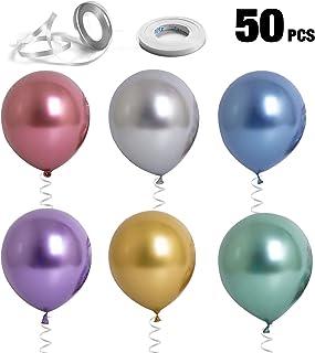 Chingde 50 piezas Globos cromados, 2 piezas Cinta rizada, Globos brillantes Globos metálicos de látex Globos multicolores de helio para fiestas Decoraciones de bodas de cumpleaños