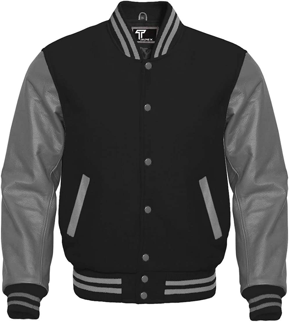 New American Style Letterman Baseball School College Real Cowhide Leather Sleeves Varsity Jacket in Multi Color Wools