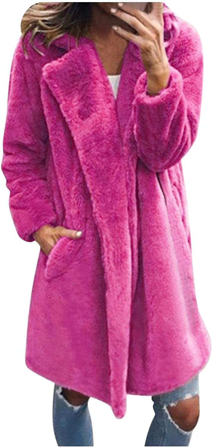 Womens Faux Fur Long Jacket Solid Shaggy Coats Winter Turn Down Collar Outerwear with Pockets Warm Winter Overcoat