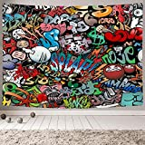 MAMINA Trippy Graffiti Tapestry,Hip Hop Hippie Art Wall Hanging,Funny Colorful Wall Tapestry for Teen Boys Girls, Indie Room Decor Aesthetic Tapestry for Bedroom College Dorm,60'x70'