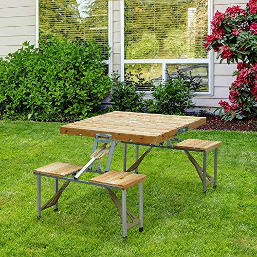 HOMCOM Table de Camping Jardin Pique-Nique Pliante...
