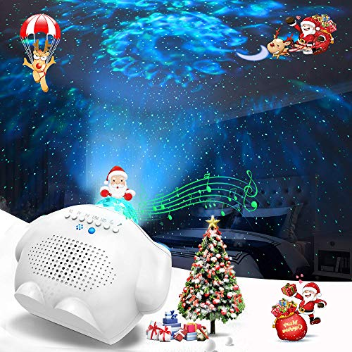 Projecteur Ciel Etoile, Lampe Projecteur Télécommande Veilleuse Enfant Étoile avec Bluetooth Lecteur Musique Lampe Projection Bébé Minuterie Lampe de Chevet Idéal pour fête Noël Pâques Halloween