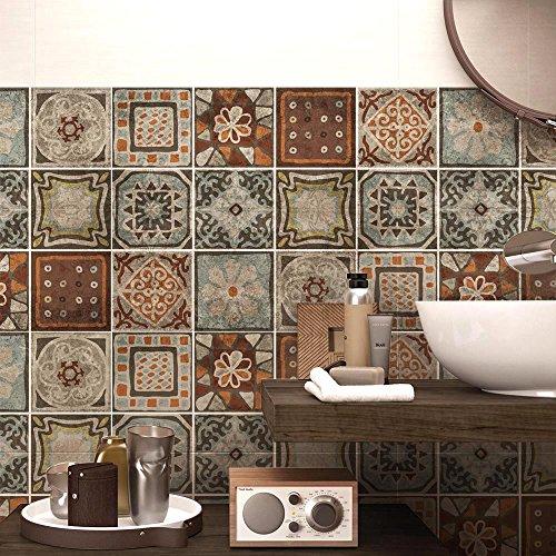 24 (Piezas) Adhesivo para Azulejos 15x15 cm - PS00167 - Cancun - Adhesivo Decorativo para Azulejos para baño y Cocina - Stickers Azulejos - Collage de Azulejos