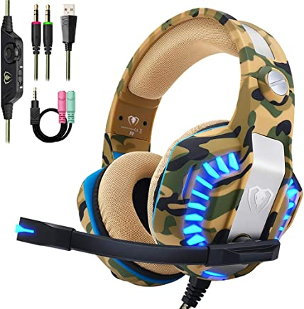$23 Get Beexcellent Pro Stereo Gaming Headset for PS4 Xbox One PC, All-Cover Over Ear Headphones with Deep Bass Surround Sound, LED Light & Noise Canceling Microphone for Nintendo Switch Mac Laptop