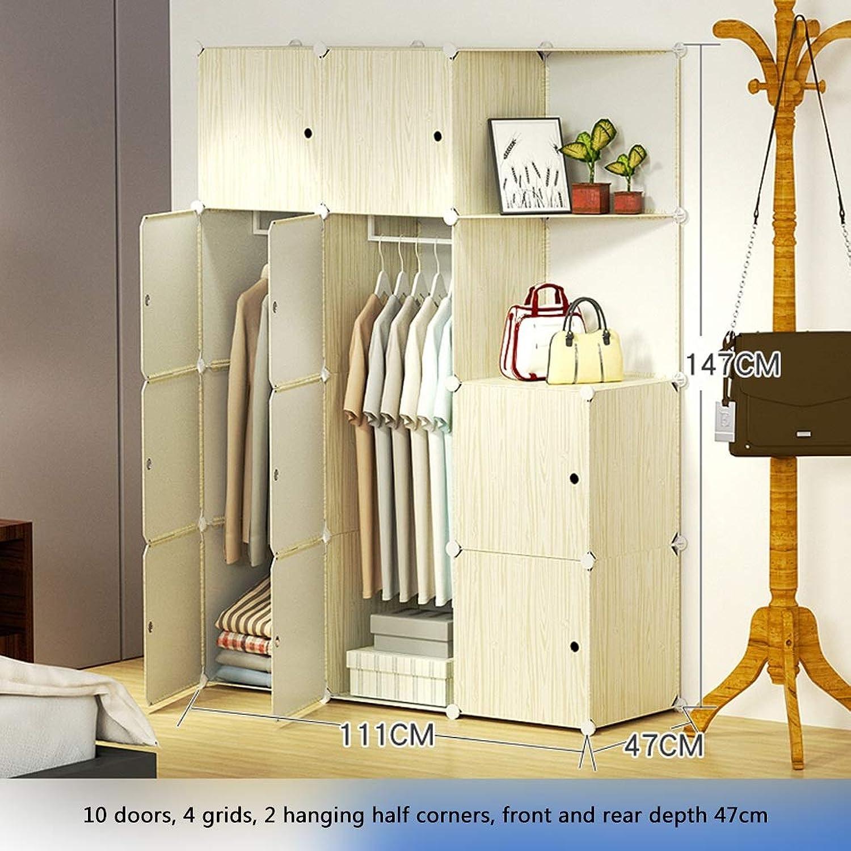 Clothes Closet Wardrobe Portable Wardrobe Closet Modular Storage Organizer Space Saving Armoire Deeper Cube with Hanging Rod 10 Doors (Size   A)