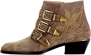bashafanni Ankle Boots Womens Genunie Leather Rivet Studded Buckle Strap Designer Boot Low Heel Booties