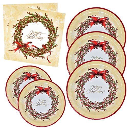 Merry Christmas Plates and Napkins Party Supplies Tableware Set 50 9' Dinner Plate 50 7' Plate 100 Lunch Napkin Elegant Gold Red Berry Wreath Holly Holiday Disposable Paper Goods Dinnerware Decor