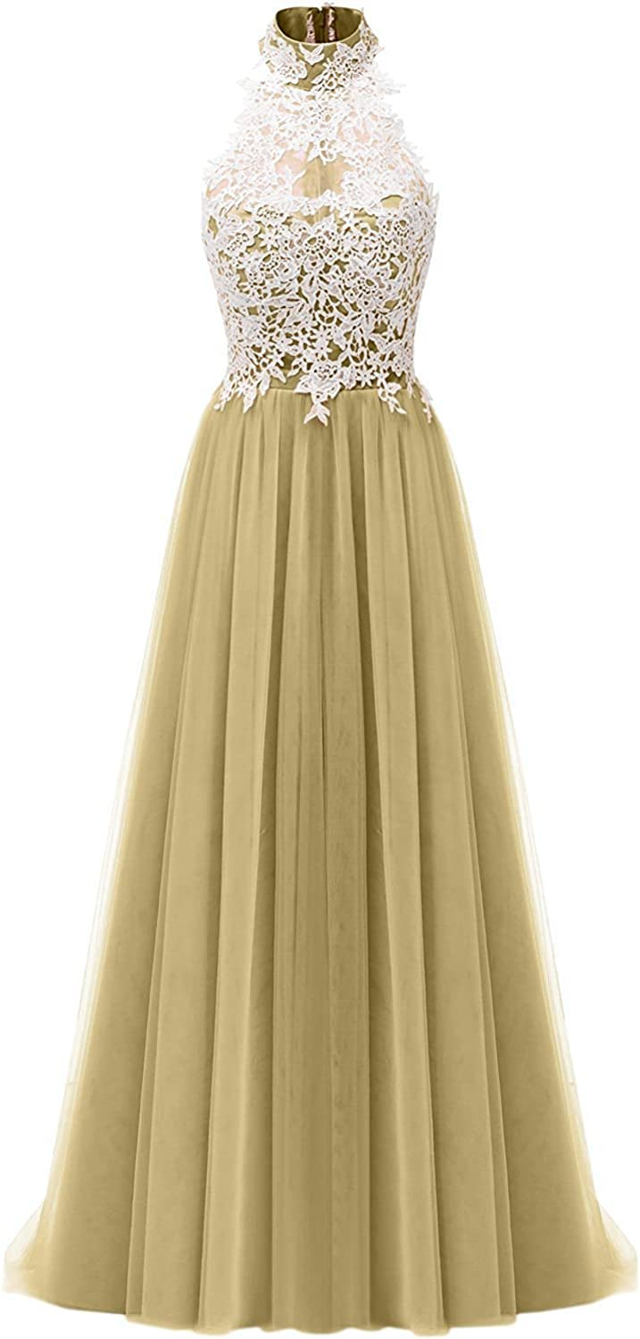 DINGZAN 2018 Lace Wedding Reception Bridesmaid Dresses Long Prom Gowns