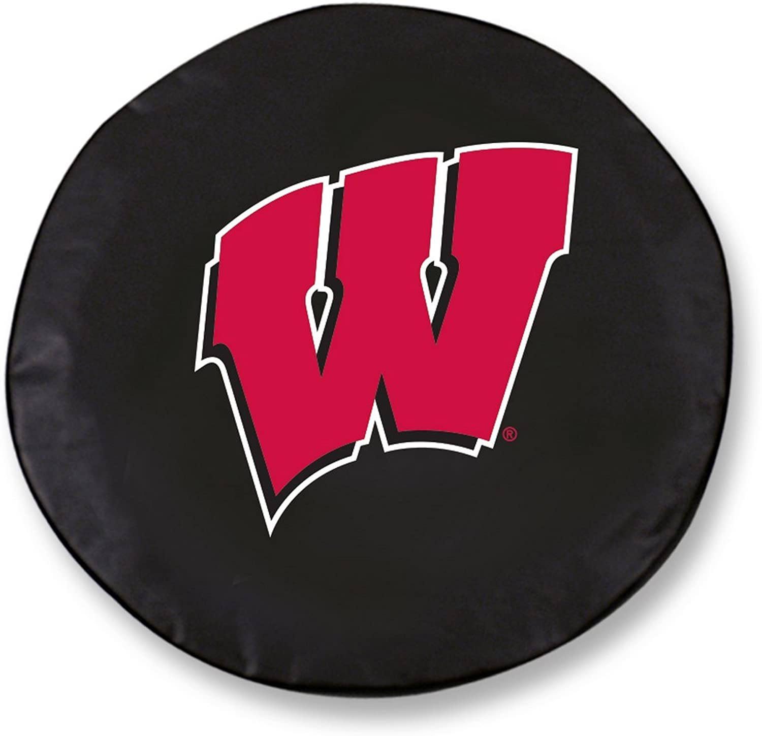 Wisconsin Badgers HBS W Black Vinyl Fitted Car Tire Cover