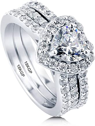AndreAngel Wedding Rings Set Engagement 2 pcs Women White Gold Plated 18K 3 Microns Thickness / 7...