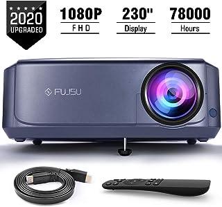 FUJSU Video Proyector Full HD, Proyector Cine en Casa con Corrección Trapezoidal Compatible con iOS/Android/TV Stick/PS4/ PC/TV Box, para Cine en Casa y Presentación Empresarial