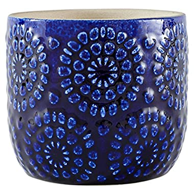 Stone & Beam Modern Stoneware Floral Embossed Planter, 4.4  H, Blue
