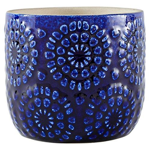 Rivet Stone & Beam Moderner, dekorativer Pflanztopf / Blumentopf aus Keramik mit geprägtem Blumenmuster, 11,1 cm hoch, Blau