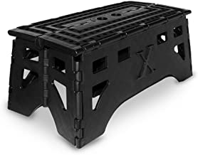 eXpace Folding Step Stool, 20-Inch Extra Wide Heavy Duty, Non-Slip for Indoor and Outdoor Use, Adults and Kids up to 500lb, Black